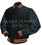 Black and Orange Letterman Jacket Style 102 with Genuine Leather Sleeves