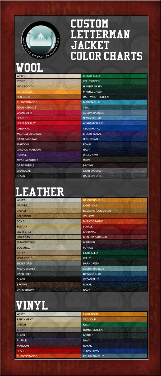 Varsity Jacket Color Chart